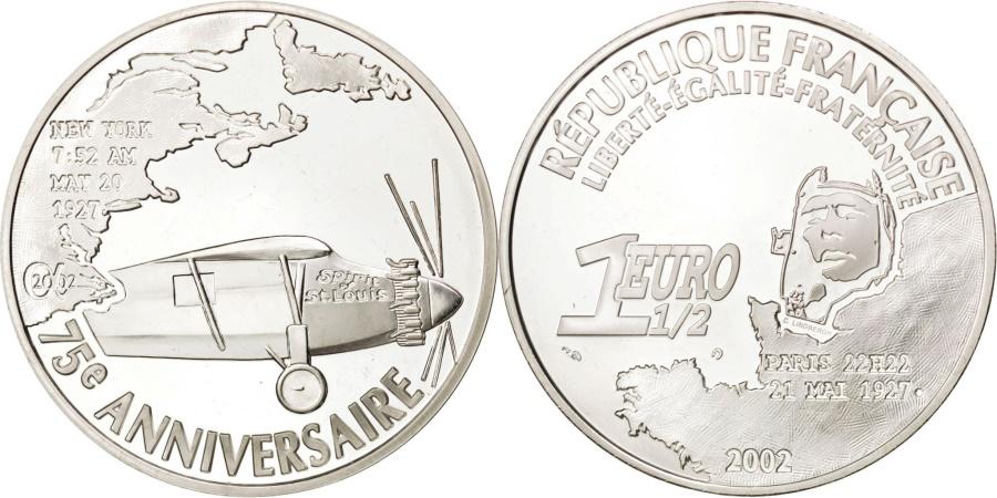 World Coins - FRANCE, 1-1/2 Euro, 2002, Paris, KM #1310, , Silver, 37, 22.18