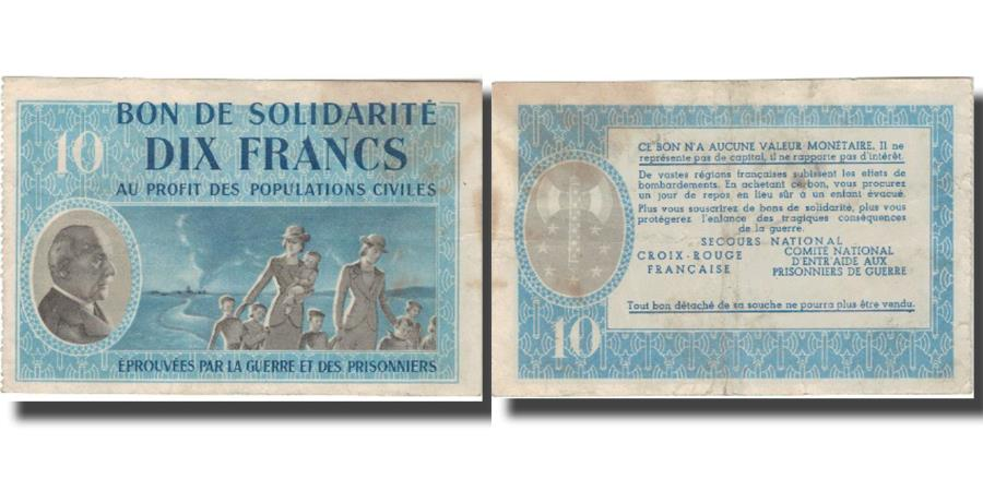 World Coins - France, Bon de Solidarité, 10 Francs, 1941, EF(40-45)