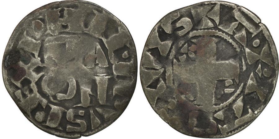 World Coins - France, Philip II, Denier Parisis, Arras, Variety, , Silver