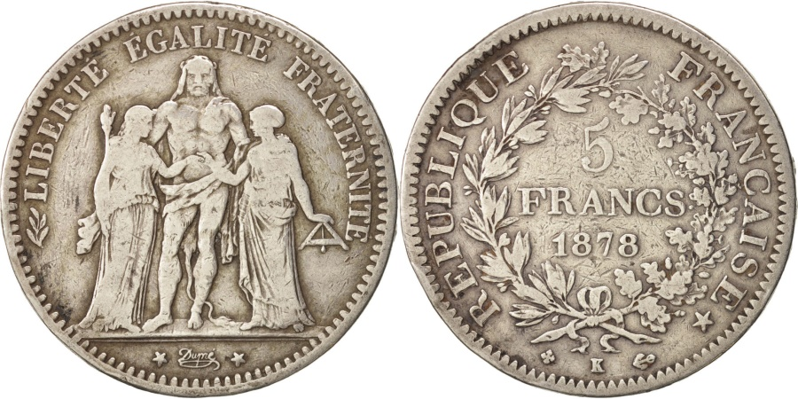 World Coins - France, Hercule, 5 Francs, 1878, Bordeaux, , Silver, KM:820.2