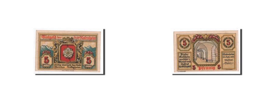 World Coins - Germany, Rosenheim, 5 Pfennig, Monument, 1921-02-16, UNC(65-70), Mehl:1134.2
