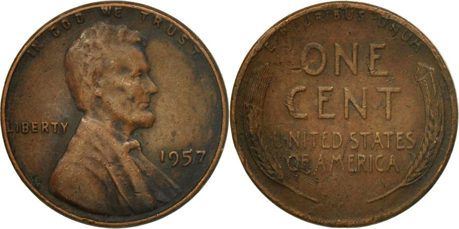 US Coins - Coin, United States, Lincoln Cent, Cent, 1957, U.S. Mint, Philadelphia