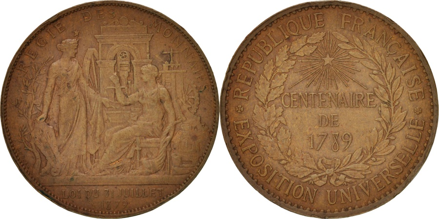 World Coins - France, 1789 Centenary, Worldwide exhibition, History, Medal, 1879, AU(55-58)
