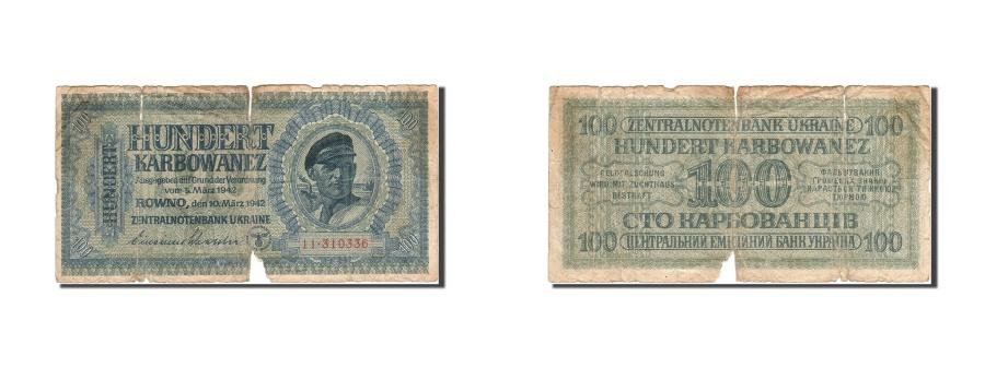 World Coins - Ukraine, 100 Karbowanez, 1942, 1942-03-10, KM:55, VG(8-10)