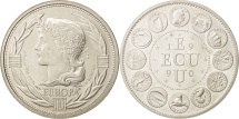 World Coins - France, Medal, Ecu Europa, French Fifth Republic, 1990, MS(63), Silver