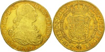 World Coins - Colombia, Charles IV, 8 Escudos, 1803, Popayan, EF(40-45), Gold, KM:62.2