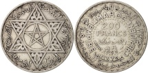 World Coins - Morocco, Mohammed V, 200 Francs, 1953, Paris, AU(50-53), Silver, KM:53