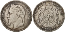 France, 5 Francs, 1868, Paris, VF(20-25), Silver, KM:799.1