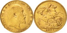 Great Britain, Edward VII, Sovereign, 1907, EF(40-45), Gold, KM:805