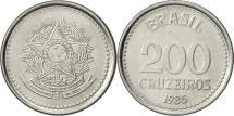 World Coins - Brazil, 200 Cruzeiros, 1985, AU(55-58), Stainless Steel, KM:596