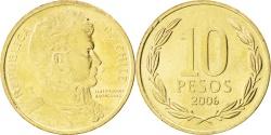 World Coins - CHILE, 10 Pesos, 2006, Santiago, KM #228.2, , Aluminum-Bronze, 21, 3.49