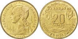 World Coins - COMOROS, 20 Francs, 1964, Paris, KM #E5, , Aluminium-Bronze, Lecompte..