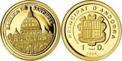 World Coins - Coin, Andorra, Basilica de Sant Pere, Diner, 2008, , Gold