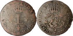 World Coins - Coin, France, Louis XV, Sol ou «sou» en billon, Sol, 1740, Lyon