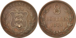 World Coins - Guernsey, 8 Doubles, 1874, Heaton, Birmingham, , Bronze, KM:7