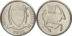 World Coins - Botswana, 10 Thebe, 2013, , Copper Plated Steel