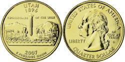 Us Coins - Coin, United States, Utah, Quarter, 2007, U.S. Mint, , Gold plated