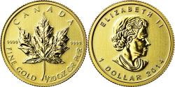 World Coins - Coin, Canada, Elizabeth II, Maple Leaf, Dollar, 1/20 Oz, 2014, , Gold