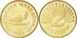 World Coins - MACEDONIA, 2 Denari, 2008, KM #3, , Brass, 23.7, 6.19