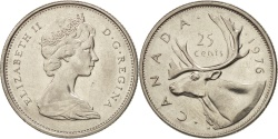 World Coins - Canada, Elizabeth II, 25 Cents, 1976, Royal Canadian Mint, Ottawa, AU(50-53)