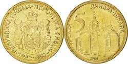 World Coins - SERBIA, 5 Dinara, 2006, KM #40, , Nickel-Brass, 24, 6.15