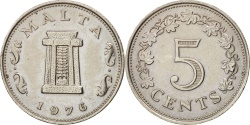 World Coins - Malta, 5 Cents, 1976, British Royal Mint, , Copper-nickel, KM:10