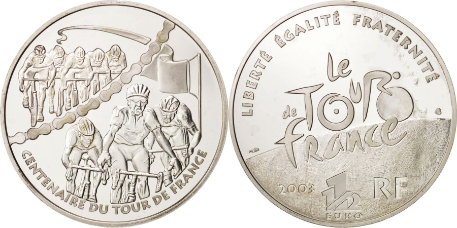 World Coins - France, 1-1/2 Euro, 2003, Paris, Tour de France, KM:1324
