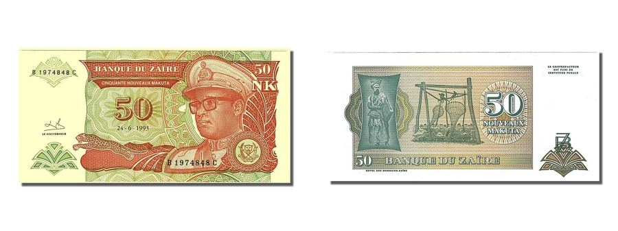 World Coins - Zaïre, 50 Nouveaux Makuta, 1993, KM #51, 1993-06-24, UNC(65-70), B 1974848 C