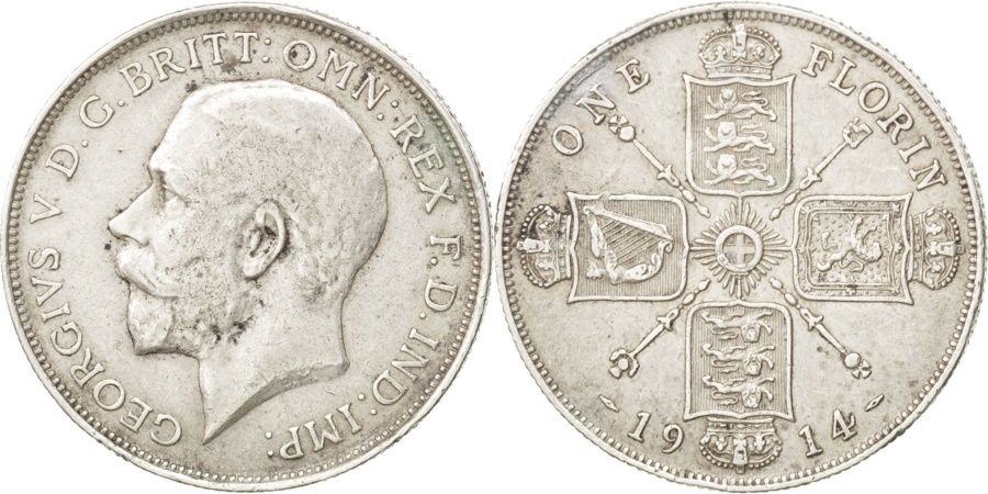 World Coins - GREAT BRITAIN, Florin, Two Shillings, 1914, KM #817, , Silver, 28.3,...
