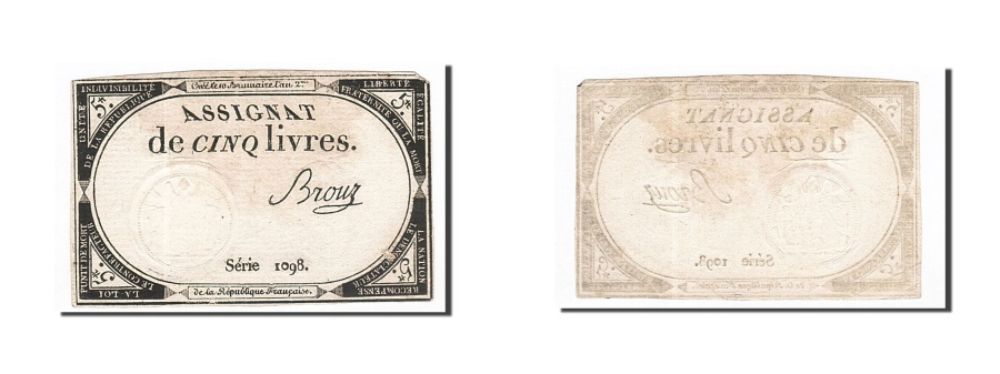 World Coins - France, 5 Livres, 1793, Brouz, KM:A76, 1793-10-31, EF(40-45), Lafaurie:171