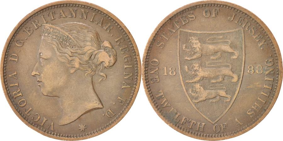 World Coins - JERSEY, 1/12 Shilling, 1888, KM #8, , Bronze, 30.69, 9.23
