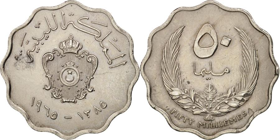 World Coins - Libya, Idris I, 50 Milliemes, 1965, , Copper-nickel, KM:10