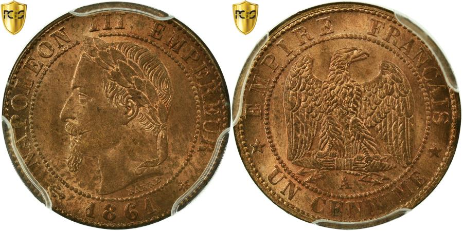 World Coins - Coin, France, Napoleon III, Napoléon III, Centime, 1861, Paris, PCGS, MS65RB