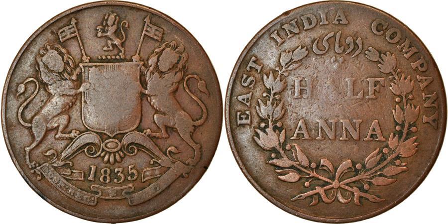 World Coins - Coin, INDIA-BRITISH, 1/2 Anna, 1835, Bombay, , Copper, KM:447.1