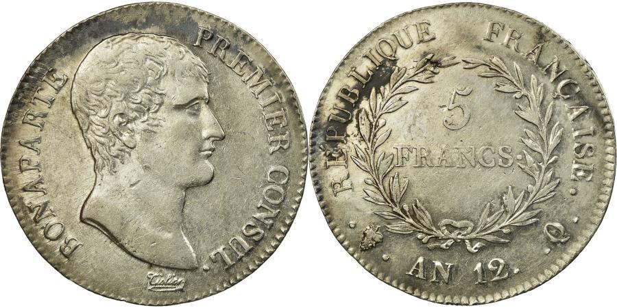 World Coins - Coin, France, Napoléon I, 5 Francs, An 12, Perpignan, AU(50-53), Silver