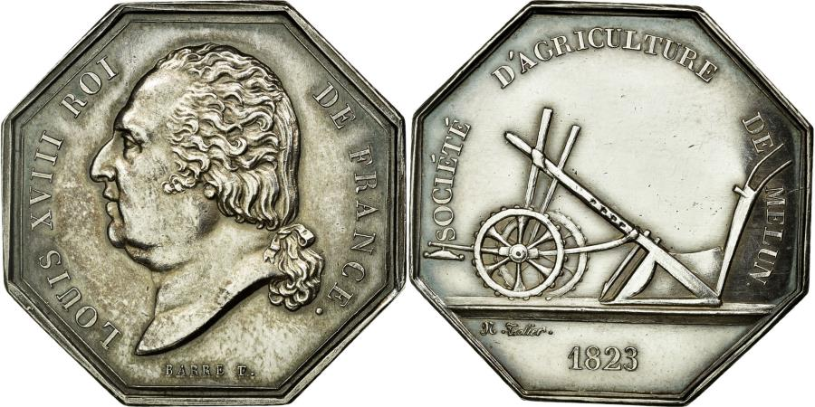 World Coins - France, Token, Agriculture and Horticulture, 1823, AU(55-58), Silver