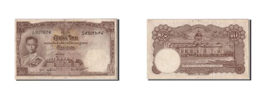 World Coins - Thailand, 10 Baht, Undated (1953), KM:76d, F(12-15)