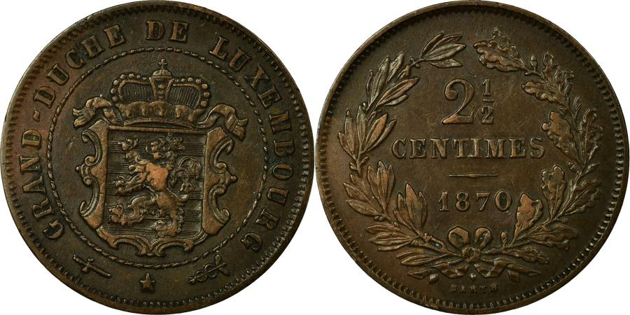 World Coins - Coin, Luxembourg, William III, 2-1/2 Centimes, 1870, Utrecht, , Bronze