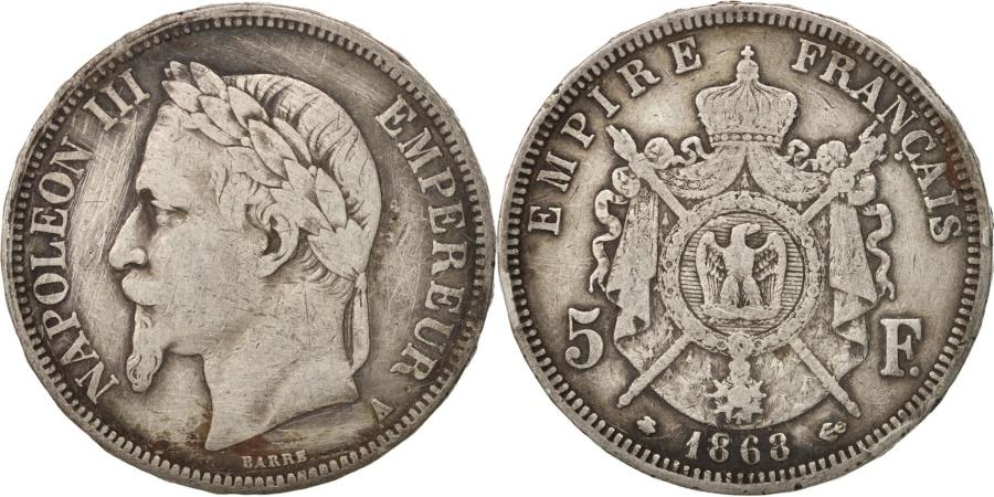 World Coins - France, 5 Francs, 1868, Paris, , Silver, KM:799.1