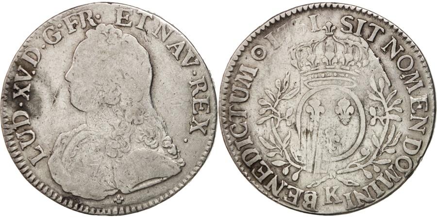 World Coins - France, Louis XV, Écu aux branches d'olivier, 1731, Bordeaux, ,KM 486.11