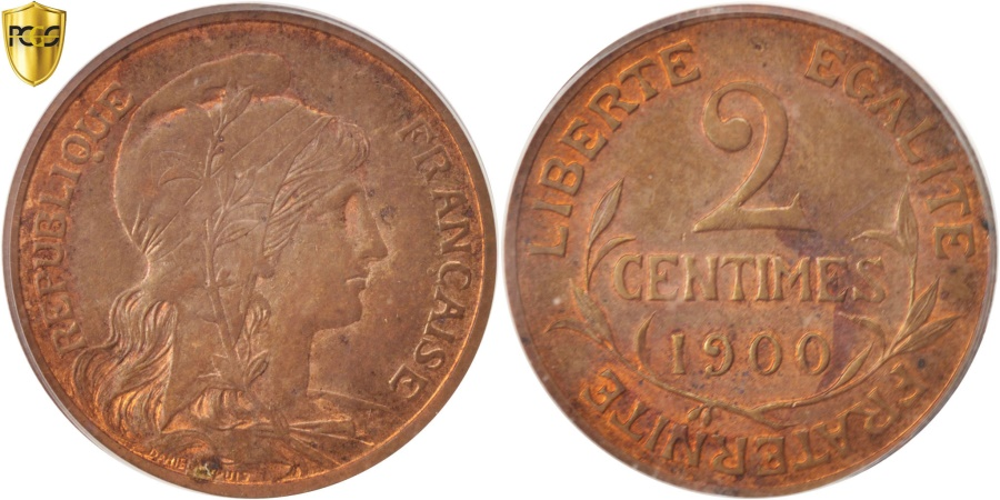 World Coins - France, Dupuis, 2 Centimes, 1900, Paris, PCGS, MS63RB, , Bronze, KM:841