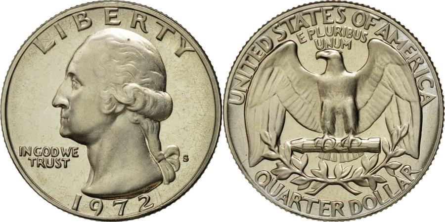 US Coins - Coin, United States, Washington Quarter, Quarter, 1972, U.S. Mint, San