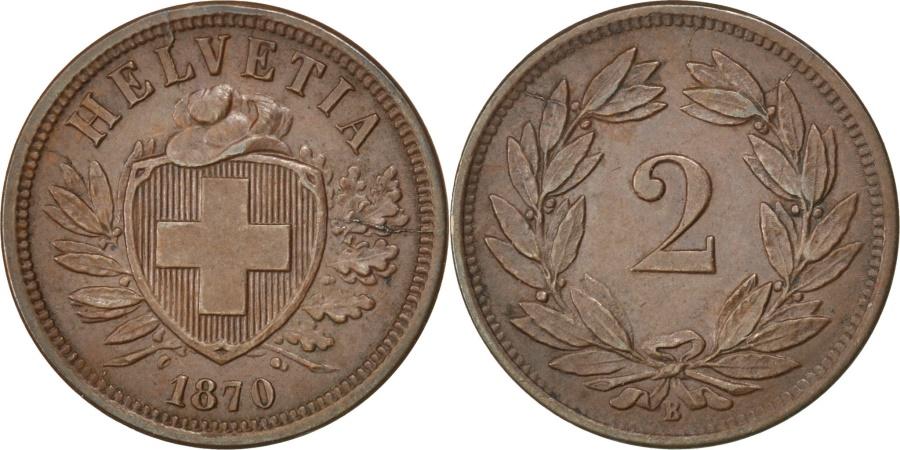 World Coins - SWITZERLAND, 2 Rappen, 1870, Bern, KM #4.1, , Bronze, 20, 2.54
