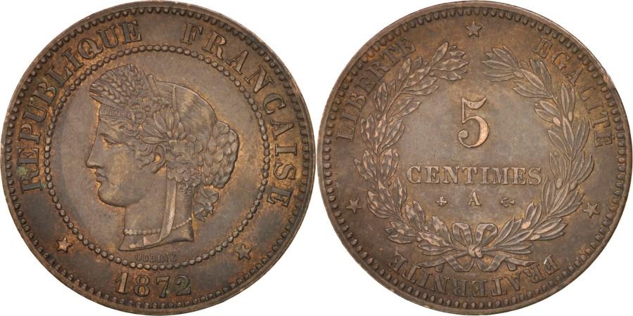 World Coins - France, Cérès, 5 Centimes, 1872, Paris, , Bronze, KM:821.1