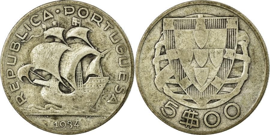 World Coins - Coin, Portugal, 5 Escudos, 1934, , Silver, KM:581