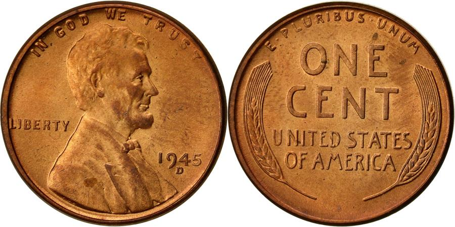 US Coins - Coin, United States, Lincoln Cent, Cent, 1945, U.S. Mint, Denver,