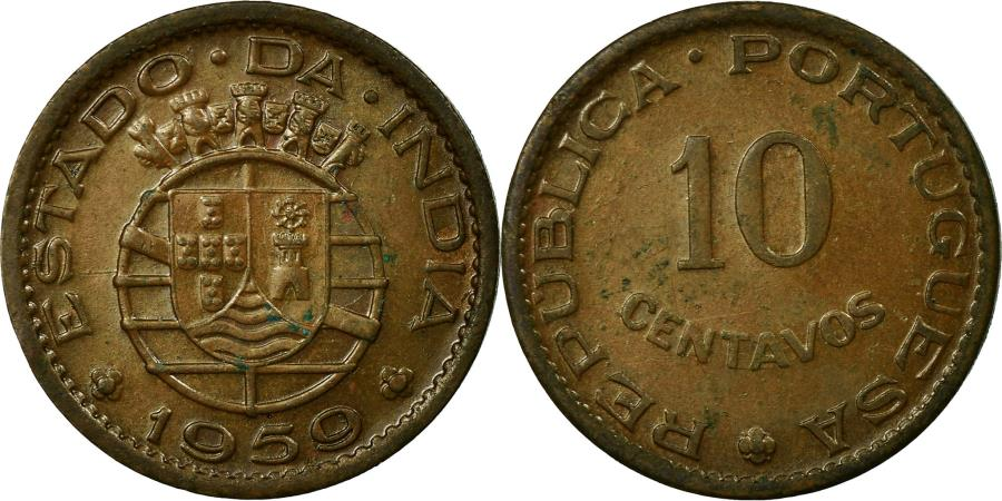 World Coins - Coin, INDIA-PORTUGUESE, 10 Centavos, 1959, , Bronze, KM:30
