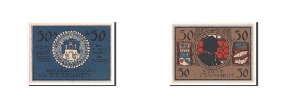 World Coins - Germany, Ettenheim, 50 Pfennig, portrait 1, 1922-03-01, UNC(65-70), Mehl:354