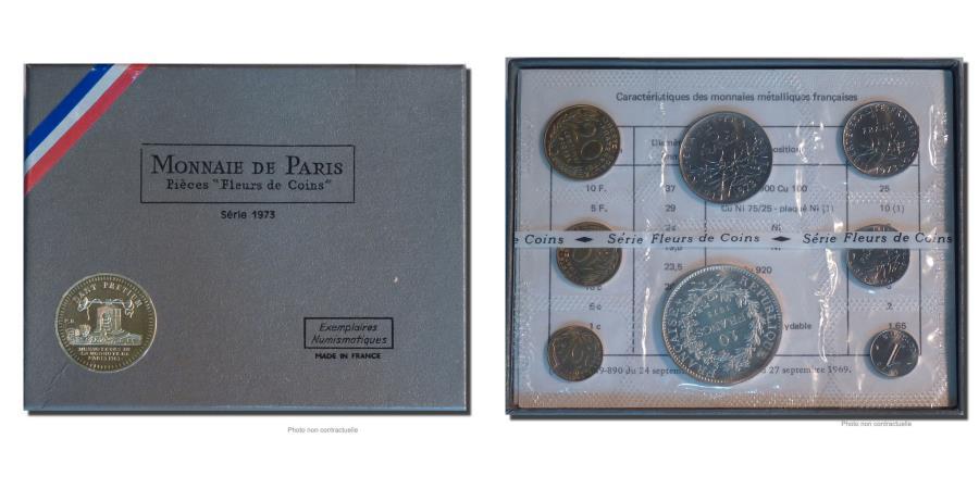 World Coins - Coin, France, Set, 1973, Paris, MS(65-70), Gadoury:page 287