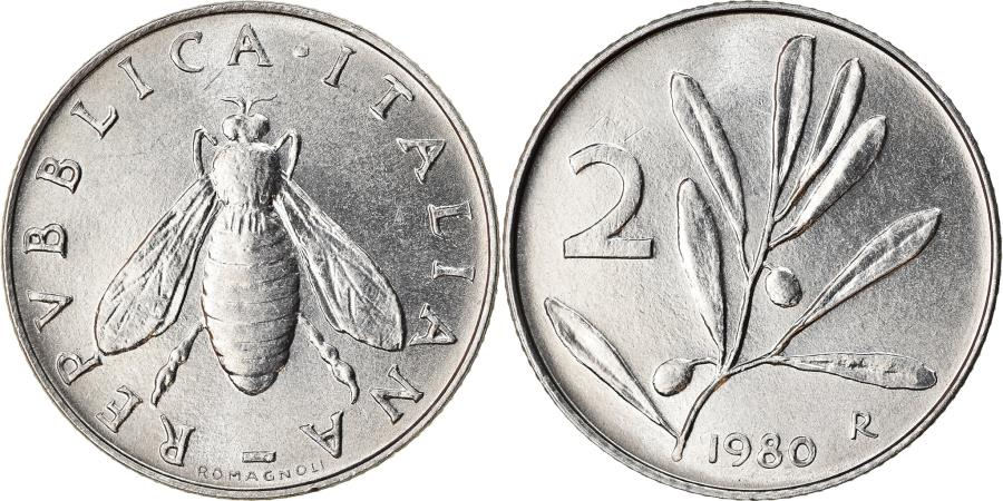 World Coins - Coin, Italy, 2 Lire, 1980, Rome, , Aluminum, KM:94